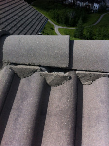 Damaged Unicrete Roof Tile Repair Calgary