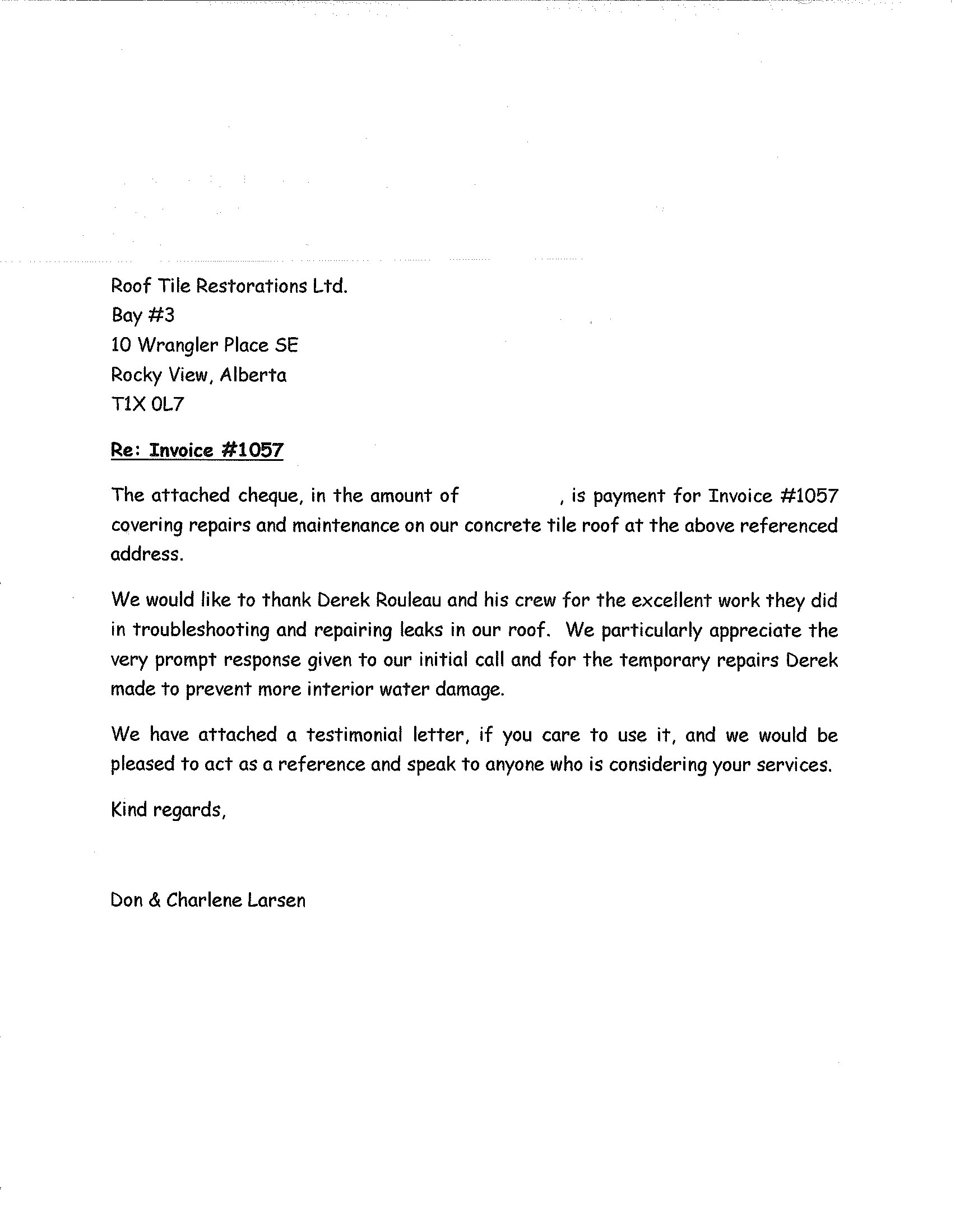 testimonials roof tile restorations letters of reference